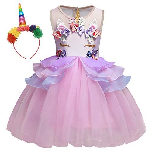 AmzBarley Einhorn Kostüm Tutu Kleid Kinder Einhörner Kleidung Blumen Mädchen Ärmellos Prinzessin Kleider Geburtstag Party Ankleiden Hochzeit Abendkleid Verrücktes Kleid Festzug Karneval Zeremonie