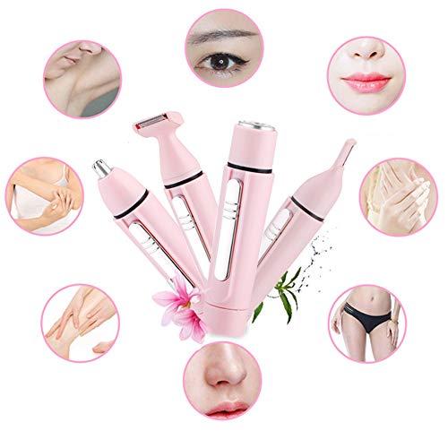 Rasoir Electrique pour Femme 4 en 1, Epilateur Visage Indolore Tondeuse Nez bikini Rasoir,Applicable à Jambe Bras/Visage/Sourcil/Oreilles/Cheveux/Corps