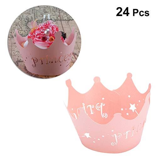 BESTONZON Prinzessinnen-Kronen-Design, Papier-Spitze, Cupcake-Wrapper, Party- oder Geburtstagsdekoration, 24 Stück, Rosa