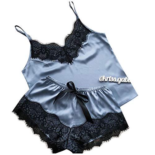Dasongff Damen Nachthemden Sets Sexy Spitze Spaghetti Strap Cami & Kurze Hose Weich Lounge Wear Dessous Schlafanzug Sommer Kurz Pyjama Nachtwäsche Satin Schlafanzüge