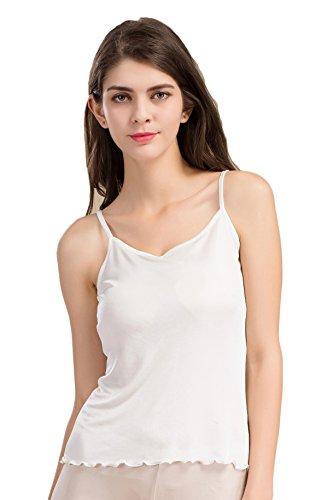 Tulpen Damen Seide Spaghetti Tops Aermellos T-Shirt Unterhemd Tank Stretch Oberteil Weiß