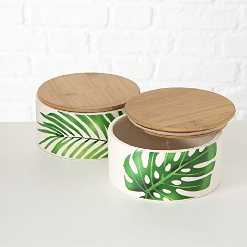 Home collection casa cucina arredamento accessori set di 2 contenitori barattoli in terracotta e tappo bambù a chiusura ermetica foglie monstera e palma Ø 16 h 8 cm