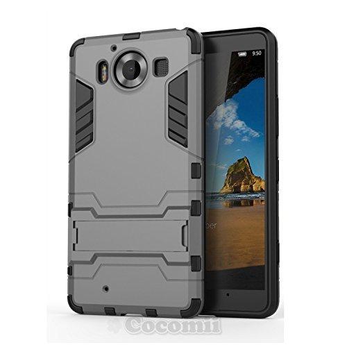Cocomii Iron Man Armor Microsoft Lumia 950 Hülle [Strapazierfähig] Taktisch Griff Ständer Stoßfest Gehäuse [Militärisch Verteidiger] Ganzkörper Case Schutzhülle for Microsoft Lumia 950 (I.Gray)