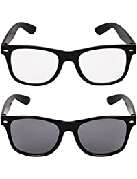 Criba Combo Pack Of Unisex Black And White Wayfarer Sunglass
