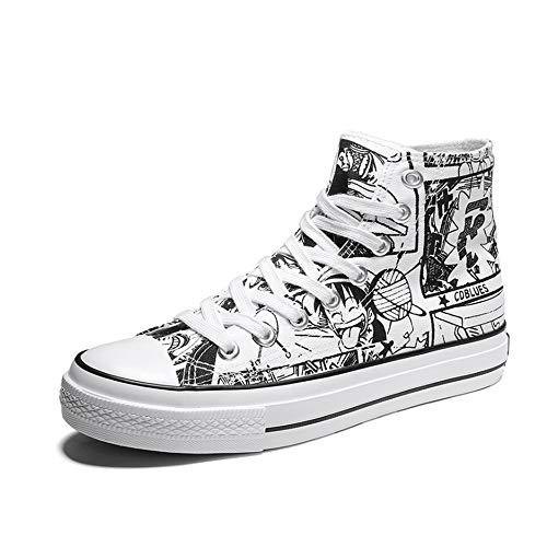 One Piece Segeltuch Schuhe Cosplay Weiß Cartoon Manuskript Zeichnungen Muster Halloween Kostüm Zubehör für Erwachsene Teen Fans Geschenk