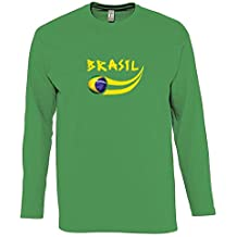 Supportershop – Camiseta para Hombre L/S Verde Brasil fútbol, T-Shirt Homme