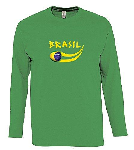 Supportershop–Camiseta para Hombre L/S Verde Brasil fútbol, T-Shirt Homme L/S Vert Brésil, Verde, FR : XL (Taille Fabricant : XL)