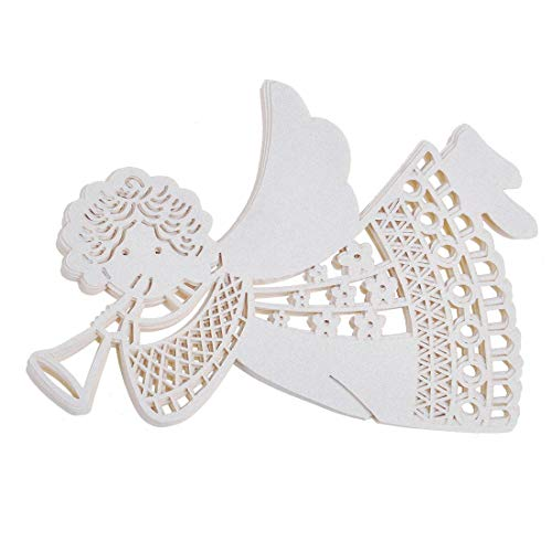 Jzk 50 angelo perlato bianco segnaposto segnatavolo segnabicchiere bomboniera per comunione nascita battesimo natale matrimonio compleanno laurea