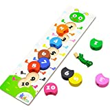 Outtybrave Digital Beaded Wooden Rainbow Blocks Wear Rope Digital Caterpillar Beaded Puzzle Early Education Parent-child Interactive Toys