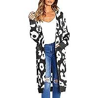 Abrigo de Invierno para Mujer, Cardigan Estampado de Punto Abrigo De Invierno con De Lana Caliente Blusa Tops Chaqueta Sueter