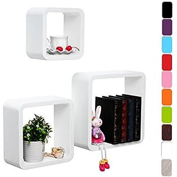 Hängeregal weiß holz  Songmics LWS104 3er Set Wandregal Cube Regal, Belastbarkeit 15 kg ...