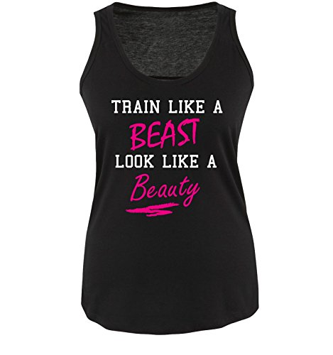Comedy Shirts - Train like a Beast look like a Beauty - Damen Tank Top - Schwarz/Weiss-Pink Gr. S -
