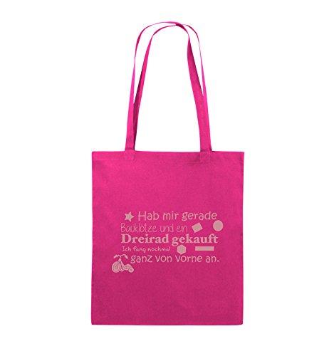 Commedia Borse - Mi Ha Fatto Solo Bauklötze E Comprato Triciclo - Nuovo Inizio - Iuta - Manico Lungo - 38x42cm - Colore: Il Nero / Colore Rosa Dargento / Colore Rosa