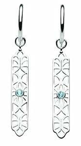 Kit Heath Womens Sterling Silver and Blue Topaz Filigree Drop Earrings 50216BT