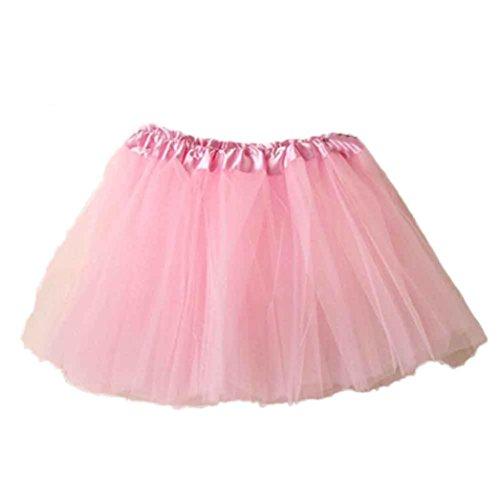 W Damen Tütü Rock Minirock Organza Pettiskirt 3 Layers Petticoat Tanzkleid dehnbaren informell Mini Skater Rock Ballettrock mit Sternchen Perfekt für Fasching (Rosa) ()