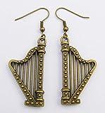 Harfe, Musik Ohrringe, Bronze Farbe Charme und Haken Modern Style