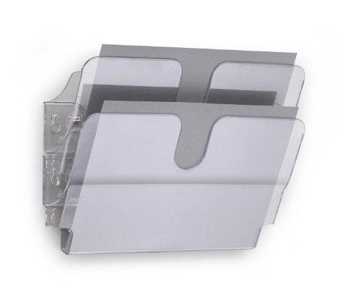 Durable FlexiPlus 2 A4 - Dispensador de folletos (2 compartimentos, A4, formato horizontal, 1 lote) color transparente