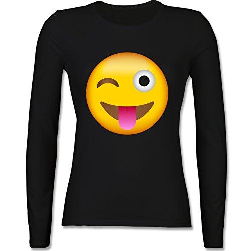 Shirtracer Comic Shirts - Emoji Herausgestreckte Zunge - Damen Langarmshirt Schwarz