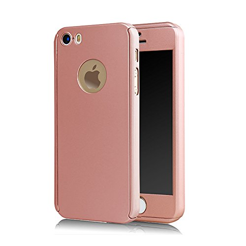 Full Cover 360 ° caso + temperato vetro di protezione Case Cover iPhone 5/5S Rose Gold