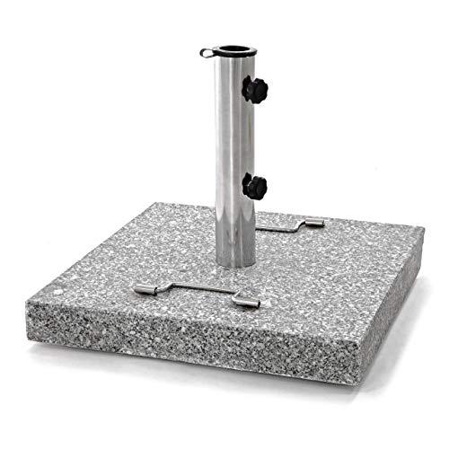 Nexos Sonnenschirmständer 30kg polierter Granit Edelstahl eckig 45 x 45 cm Schirmständer mit Griff und Rollen