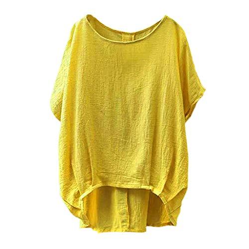 ESAILQ Damen Fledermaus Kurzarm beiläufige lose obere dünne Abschnitt Bluse T-Shirt Pullover (M, Gelb-Y)