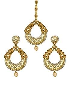 Bindhani Traditional Jewellery Wedding Bridal Mang Tikka Kundan Maang Tika Earrings For Teen Girls & Women