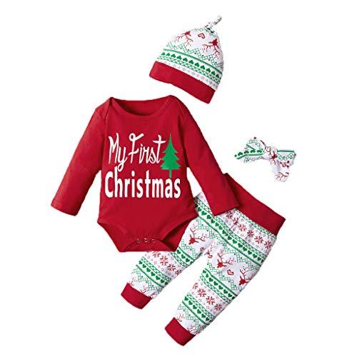 Minshao(TM) Neonato Neonato Neonato Top da Donna Pagliaccetto Pantaloni Cappellino Fasce Costume Completo con Cappello Autunno Inverno Capis