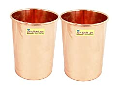SHIV SHAKTI ARTS Handmade Pure Copper Plain Glass Set of 2