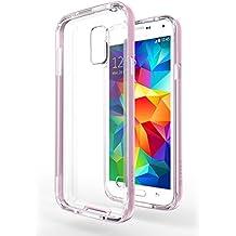 Funda Galaxy S5 Neo - Azorm Hybrid Edition Rosa - Bumper con Efecto Metálico, Transparente, Resistente a los arañazos en su parte trasera, Amortigua los golpes - funda protectora de silicona anti-golpes para Samsung Galaxy S5 Neo New