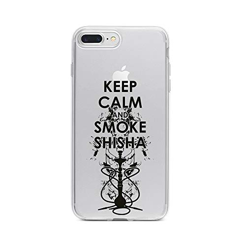 licaso Apple iPhone 8 Plus Handyhülle Smartphone Apple Case aus TPU mit Keep Calm and Smoke Shisha Print Motiv Slim Design Transparent Cover Schutz Hülle Protector Soft Aufdruck Lustig Funny Druck