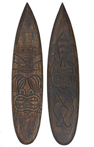 2 Tiki Deko Surfboards aus Holz 100cm im Hawaii Style Maui Deko Surfbrett Surfboard