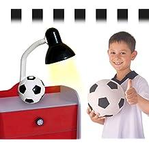 Lámpara de escritorio infantil para niño y niña con motivo de PELOTA DE FÚTBOL - Blanco-negro