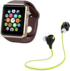 LIMESWOOD Golden A1 Bluetooth SmartWatch With WhatsApp, Facebook, Twitter, Pedometer, Remote Camera, SIM Card & Sleep Monitoring Support With Jogger Bluetooth 4.1 Lightweight Wireless Sports Headphones Compatible With Xiaomi Mi, Apple iPhone & iPad, Samsung, Sony, Lenovo, Oppo, Vivo and All Smartphones (1 Year Warranty)
