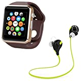 #3: LIMESWOOD Golden A1 Bluetooth SmartWatch With WhatsApp, Facebook, Twitter, Pedometer, Remote Camera, SIM Card & Sleep Monitoring Support With Jogger Bluetooth 4.1 Lightweight Wireless Sports Headphones Compatible With Xiaomi Mi, Apple iPhone & iPad, Samsung, Sony, Lenovo, Oppo, Vivo and All Smartphones (1 Year Warranty)