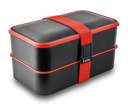 LeOx- Lunchbox mit zwei Fächern Bento Box Brotdose Aufbewahrungsdose Lunchbox mit Unterteilung Essen to go Food Container Lunchbox zwei Fächer mit Besteck (Schwarz/Rot)