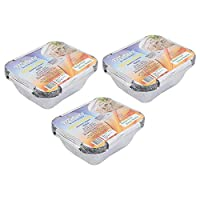 Freshee Pack of 3 x 10 pcs Aluminium Silver Foil Container 450ml| 100% Recyclable Food Storage Disposable Containers with Lid For Kitchen | Bacteria Resistant