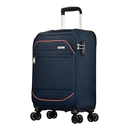 Eminent Handgepäck Barcelona 54 cm 33 L Leichtgewicht 4 Leise Doppelrollen TSA Schloss Blau