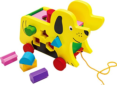 Toys of Wood Oxford Wooden Pull Along Dog and Wooden Block Shape Sorter