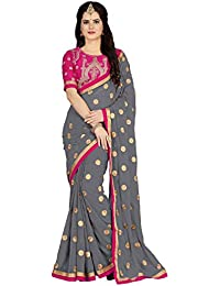 Vastrang Sarees Women's Georgette Embroidered Sarees with Embroidered Blouse Piece Amazon Summer Sale_5452…