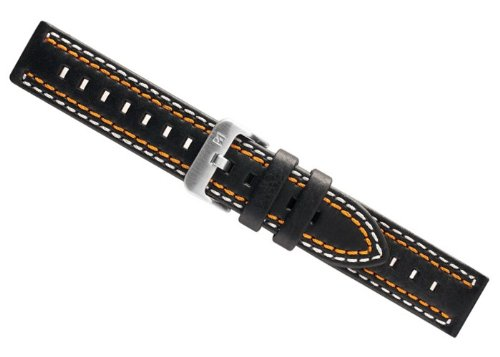 Dakota Ersatzband Uhrenarmband Leder Band - schwarz mit weiß/oranger Doppelnaht 24411S, Stegbreite:20mm