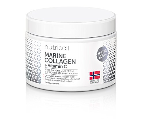 Norwegian Pure Marine Collagen Powder With Natural Vitamin C from Acerola Fruit I Hydrolysate Peptides | Great Light Natural Strawberry Taste I 30 portions x > 4000 mg I Increases Skin Moisture | 100 % Natural I From Sustainable Wild Caught Cod From the North Atlantic Ocean I Highly Absorbable | Bioactive Peptides I Supplement for Skin, Hair, Nails, Tendons and Ligaments I All 9 Amino Acids | No Artificial Additives and Colorants | Fast Solubility | Analysed and Always Lab Tested |150 g