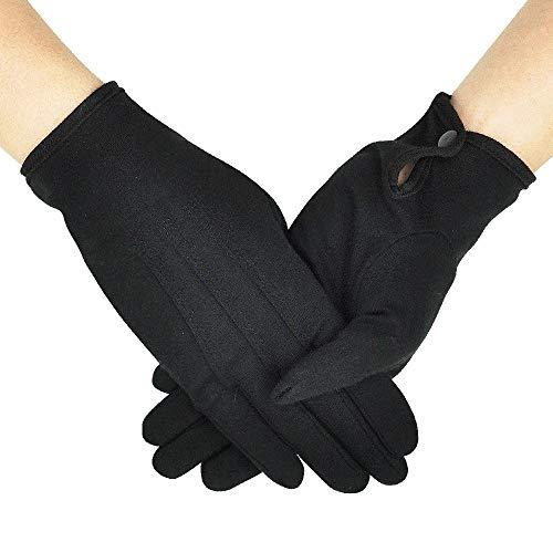 OLESILK Parade Handschuhe für Frauen und Herren Weiße Baumwolle formelle Smoking Kostüm Ehrengarde Handschuhe mit Schnappverschluss Inspektionshandschuhe Für Münzen, Schmuck, Silber, Schwarz, 1Paar (Schwarz Kostüm Parade)