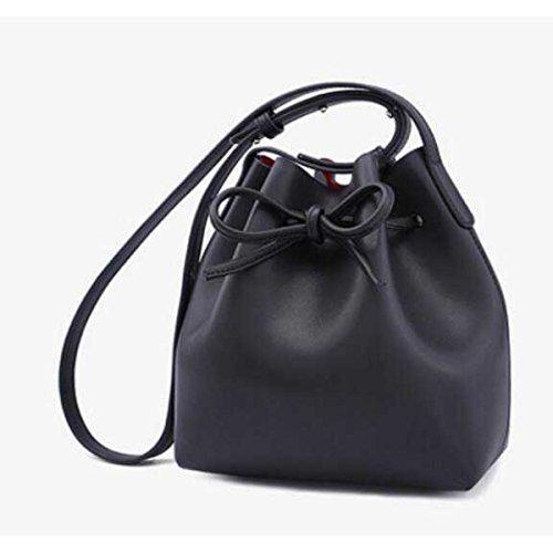 Frauen Leder Messenger Bag Mini Tasche Eimer Tasche Black