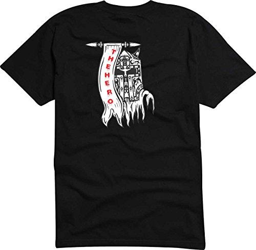 T-Shirt D571 T-Shirt Herren schwarz mit farbigem Brustaufdruck - Design Tribal Comic / abstrakte Grafik / Totenkopf Ritter mit Maske Mehrfarbig