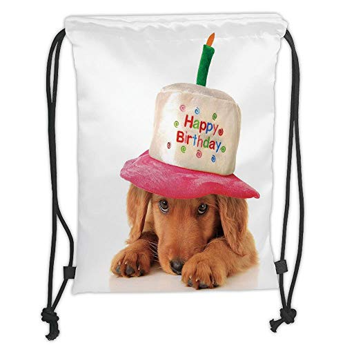 Fashion Printed Drawstring Backpacks Bags,Birthday Decorations for Kids,Golden Puppy with Party Cone Shaped Hat with Candle Image,Multicolor Soft Satin,5 Liter Capacity,Adjustable String Closure,T