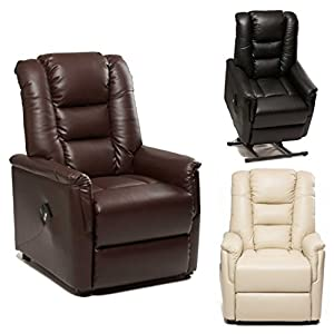 The Bradfield Riser Recliner Chair in Faux Leather (PU). Single Motor, easy-clean lift and tilt rise chair. Three colours available - cream, black and nut brown