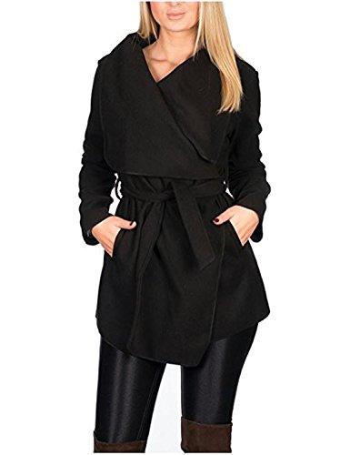 Kendindza Damen Mantel Trenchcoat mit Gürtel Lang Kurz dünner Stoffgürtel S M L XL (XS, Schwarz Kurz)