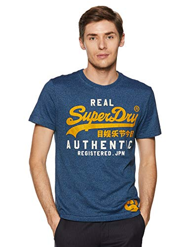 Superdry Herren Pullunder Vintage Authentic Duo Tee, Blau (Blue Black Grit Dt2), X-Large