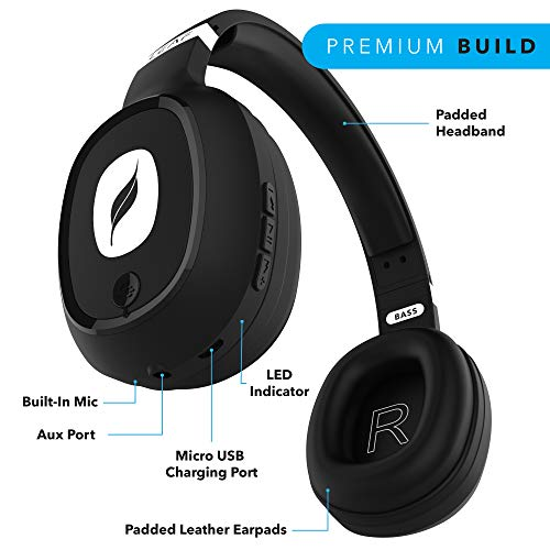 Leaf Bass Wireless Bluetooth Headphones with Hi-Fi Mic and 10 Hours Battery Life, Over Ear Headphones with Super Soft Cushions and Deep Bass (Carbon Black) Image 3
