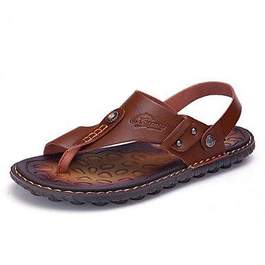 Slippers & amp da uomo;Sandali dell'anello della punta del similpelle Primavera Estate Casual Khaki Blu Marrone piatto sandali US7 / EU39 / UK6 / CN39